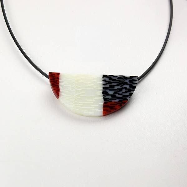 Red, White, and Black Wedge Pendant 2