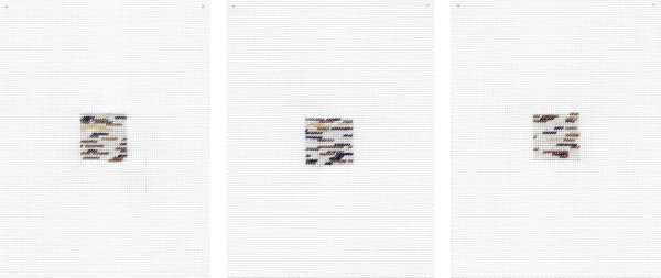 Sarah Almehairi Memories I Have 1-3, 2018-2019 Hand embroidery Three panels 18.5 x 14 cm each 7 1/4 x 5 1/2 in each