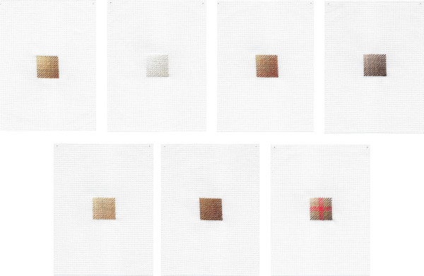 Sarah Almehairi Patterns We Use 1-7, 2018-2019 Hand embroidery Seven panels 18.5 x 14 cm each 7 1/4 x 5 1/2 in each