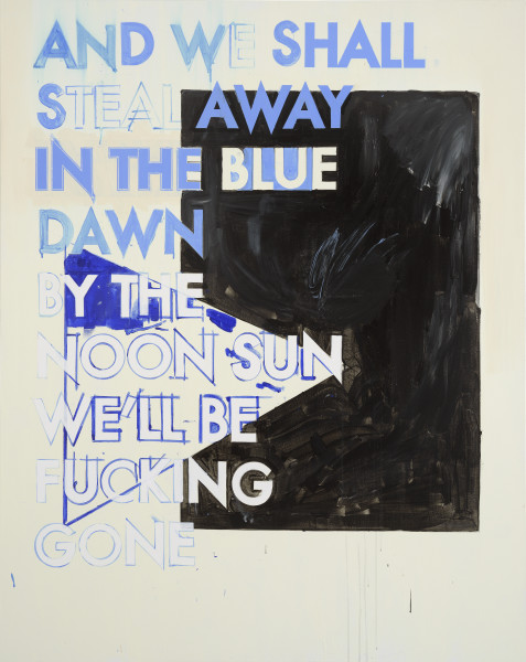 Robert Montgomery, Hammersmith Poem/Malevich Painting (And We Will Steal Away In The Blue Dawn), 2017
