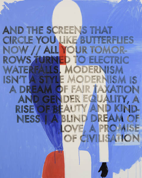 Robert Montgomery, Hammersmith Poem/Malevich Painting (And The Screens That Circle You Like Butterflies Now), 2017