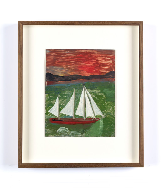 Frank Walter, Sailboat with Hurricane Sky and Green Seas