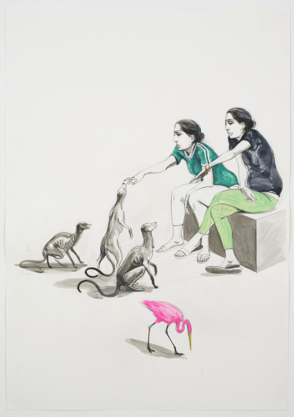 Charles Avery, Untitled (Workers Encountering Pearlbobs), 2018