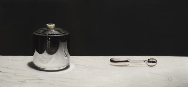 James Gillick Silver Biscuit Barrel & Tongs Oil on linen over panel 11.57 x 25ins (29.4 x 63.5cm) (artwork size) 17.52 x 30.91ins (44.5 x 78.5cm) (framed size)