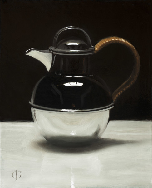 James Gillick Art Deco Silver Coffee Pot Oil on linen over panel 10.31 x 13.78ins (26.2 x 35cm) (artwork size) 16.73 x 14.76ins (42.5 x 37.5cm) (framed size) Reprise available on request: £6,800.00