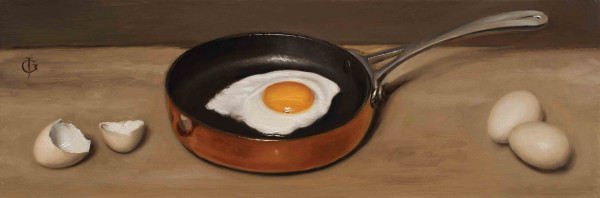 James Gillick Bantam Eggs & Frying Pan Oils on linen over panel 5.91 x 17.2ins (15 x 43.7cm) (artwork size) 12 x 23.23ins (30.5 x 59cm) (framed size) Reprise available on request: £7,600