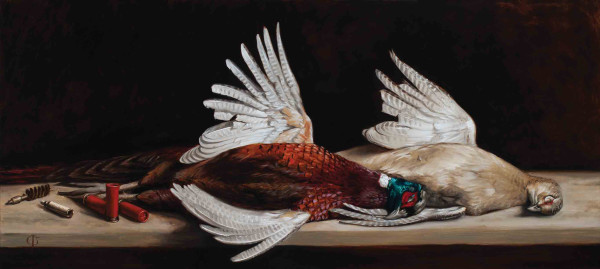 James Gillick Cock & Hen Pheasant Oils on linen over Panel 18.11 x 40ins (46 x 101.5cm) (artwork size) 24.29 x 46.14ins (61.7 x 117.2cm) (framed size) Reprise available on request: £17,600