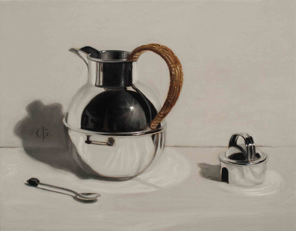 James Gillick Deco Silver Coffee Pot & Spoon Oils on linen over panel 9.45 x 13.19ins (24 x 33.5cm) (artwork size) 14.49 x 17.13ins (36.8 x 43.5cm) (framed size) Reprise available on request: £6,800