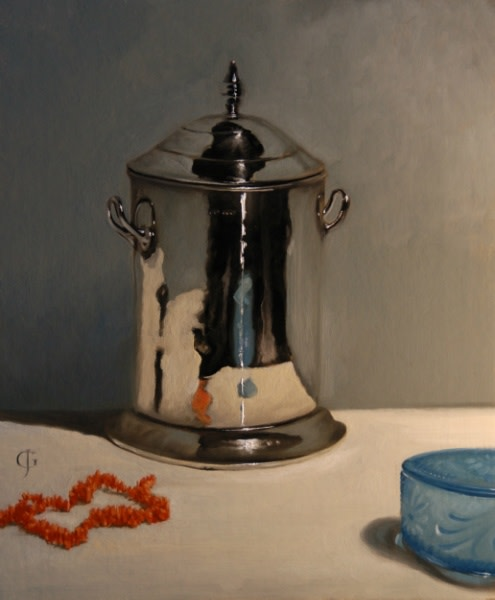 James Gillick, Silver Pot, Coral Necklace, Blue Glass