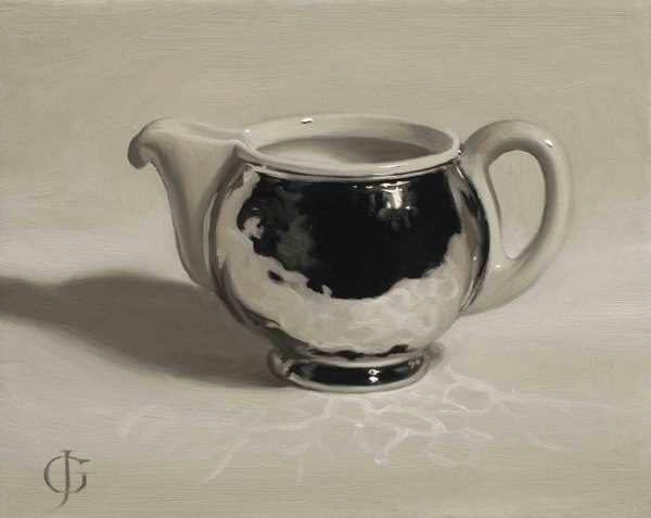 James Gillick Steel & Ceramic Milk Jug Oils on linen over panel 6.26 x 7.72ins (15.9 x 19.6cm) (artwork size) 9.92 x 11.54ins (25.2 x 29.3cm) (framed size) Reprise available on request: £5,200
