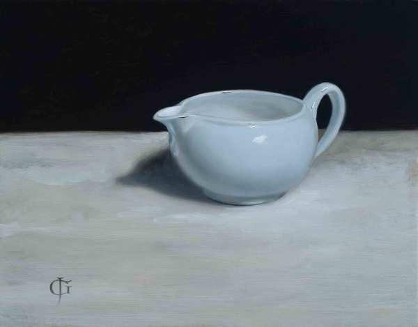 James Gillick Pale Blue Jug Oils on linen over panel 9.49 x 13.19ins (24.1 x 33.5cm) (artwork size) 14.09 x 16.69ins (35.8 x 42.4cm) (framed size) Reprise available on request: £6,800
