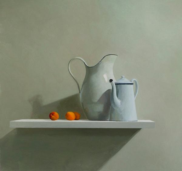Helen Simmonds, Two Jugs Three Apricots