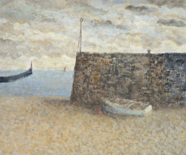 Nicholas Turner, Blue Boat and Harbour Wall