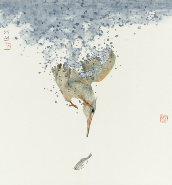 He Xi Chasing Fish Ink and Chinese pigments on silk 15.75 x 14.57ins (40 x 37cm)