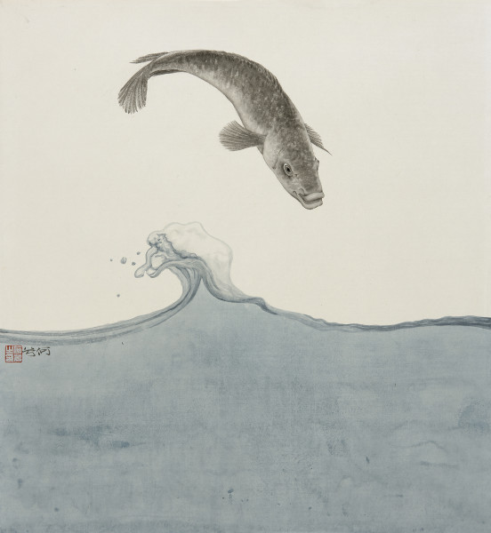 He Xi See the Sea III Ink and Chinese pigments on rice paper 18 x 17.3ins (46 x 44cm)
