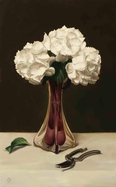 James Gillick White Hydrangeas in a Trumpet Vase Oils on linen over panel 25 x 15 .47ins (63.4 x 39.3cm) (artwork size) 33.07 x 23.43ins (84 x 59.5cm) (framed size) Reprise available on request: £11,000