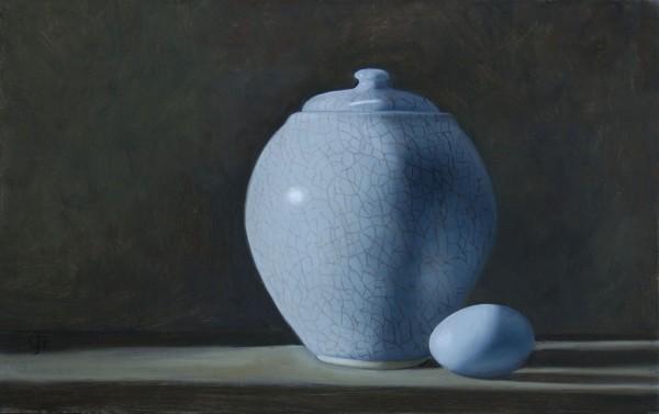 James Gillick, Chinese Crackle-Glazed Vase & Blue Egg, 2015