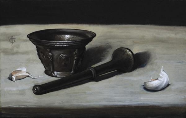 James Gillick, Sixteenth Century Pestle & Mortar with Garlic