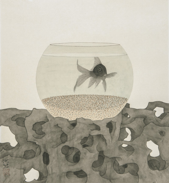 He Xi The Fish Being Watched II Ink and Chinese pigments on rice paper 16.9 x 18.5ins (43 x 47cm)