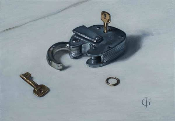 James Gillick Padlock, Unlocked Oil on linen over Panel 7.17 x 10.28ins (18.2 x 26.1cm) (artwork size) 12.24 x 15.35ins (31.1 x 39cm) (framed size) Reprise available on request: £6,000