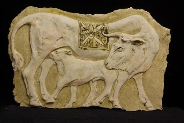 Tanya Brett, Sacred Cow and Calf Plaque
