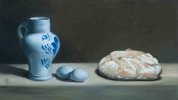 James Gillick 18th-Century Delft Vase, Blue Eggs & Bread Oils on linen over panel 11.5 x 20ins (29.2 x 50.8cm) (artwork size) 18.19 x 26.77ins (46.2 x 68cm) (framed size) Reprise available on request: £10,250