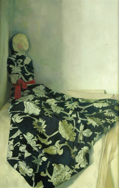 Susan Angharad Williams, Clay Figure Wrapped in a Patterned Skirt