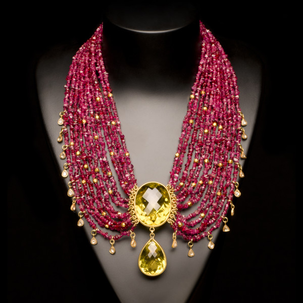 Diamond, Ruby and Citrine Necklace