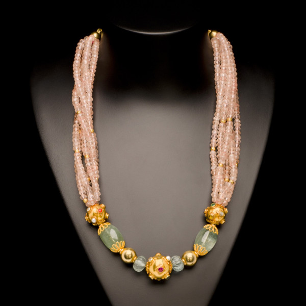 Rose Quartz, Green Beryl, Aquamarine and Gold Bead Necklace