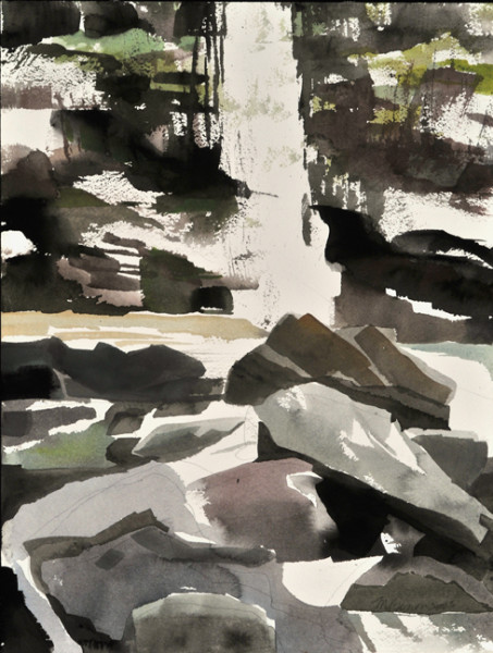 Mariella Bisson, Plattekill Falls, Rock and Waterfall Field Painting