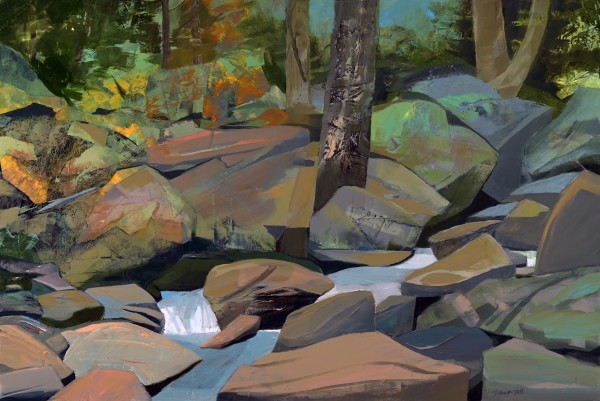 Mariella Bisson, Painting a Rocky Brook