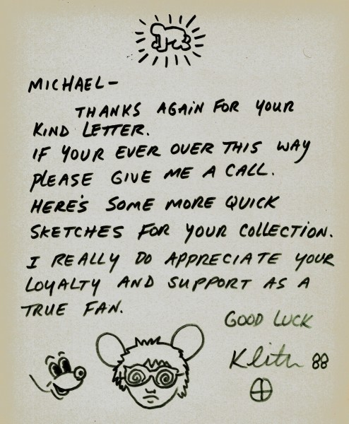 Keith Haring, Letter with Andy Mouse, 1988