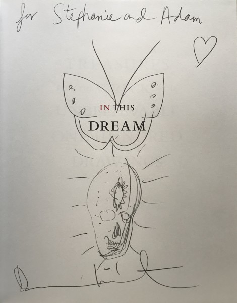 Damien Hirst, Skull & Butterfly drawing in book. SIGNED