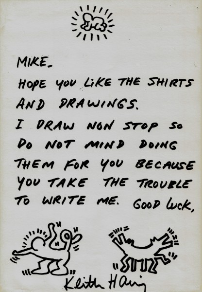 Keith Haring, Letter to Mike with drawings, 1988
