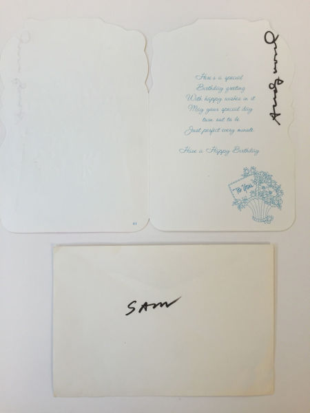 Andy Warhol, Signed Birthday card and signed envelope for Sam Bolton