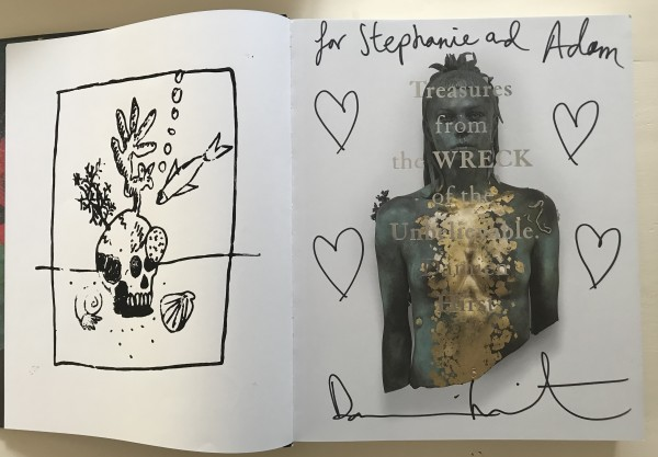 Damien Hirst, Four heart drawings in book.