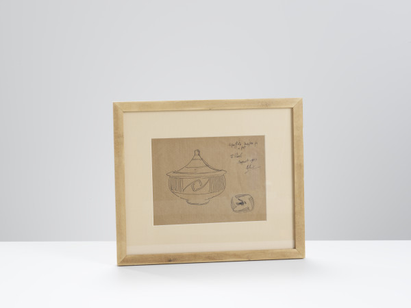 Bernard Leach, Signed Sketch of a Lidded Pot