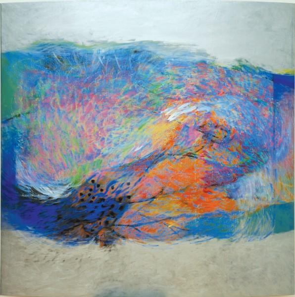 Rashid Al Khalifa, A Fusion of Hues in Blue, Orange and Pink II, 2007