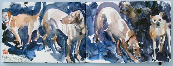 John Short, Sketchbook Study of Dogs on Killiney Hill, County Dublin