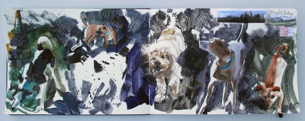 John Short, Sketchbook Study of Dogs 2, Killiney Hill, County Dublin