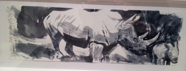 John Short, Sketchbook spread, Rhinoceros, Dublin Zoo