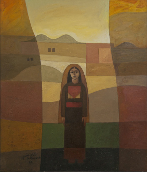 Sliman Mansour, Girl in the Village - 1982