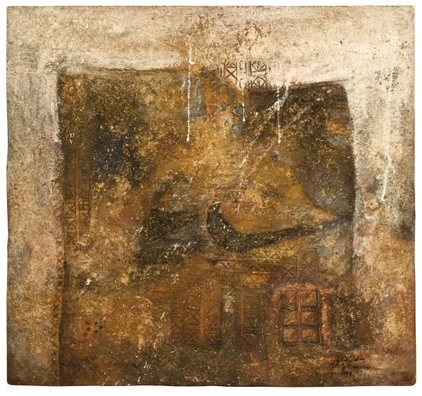 Sliman Mansour, The Village mud of wood - 1990