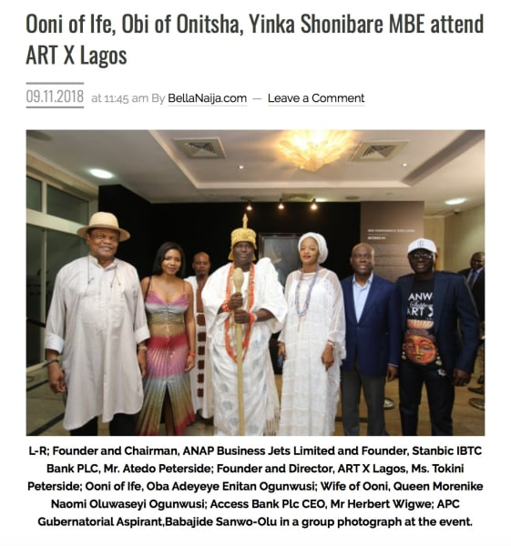 Ooni of Ife, Obi of Onitsha, Yinka Shonibare MBE attend ART X Lagos | Main Image