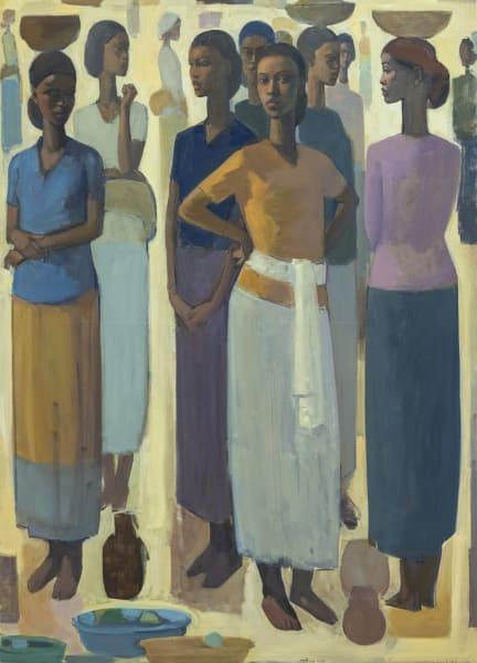 Tadesse Mesfin, Pillars of Life: Saturday Market V, 2020, Oil on canvas, 180 x 130 cm. Image courtesy of Eyerusalem Jiregna and Addis Fine Art