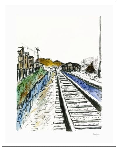 Train Tracks (white - medium format)