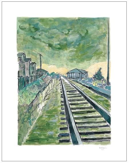 Train Tracks (green - medium format)