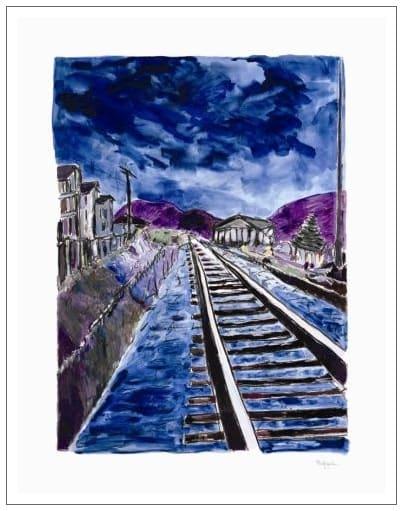 Train Tracks (blue - medium format)