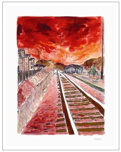 Train Tracks (red - medium format)