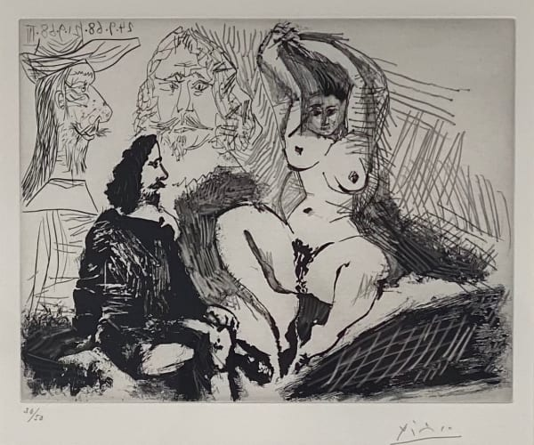 Homme Assis Auprès d'une Femme Coiffant, 1968